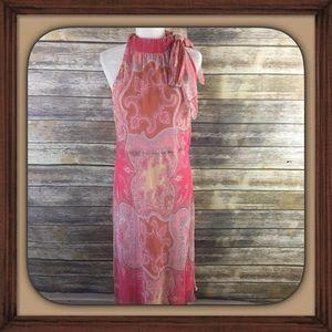 Banana Republic Pink Paisley Design Halter Dress